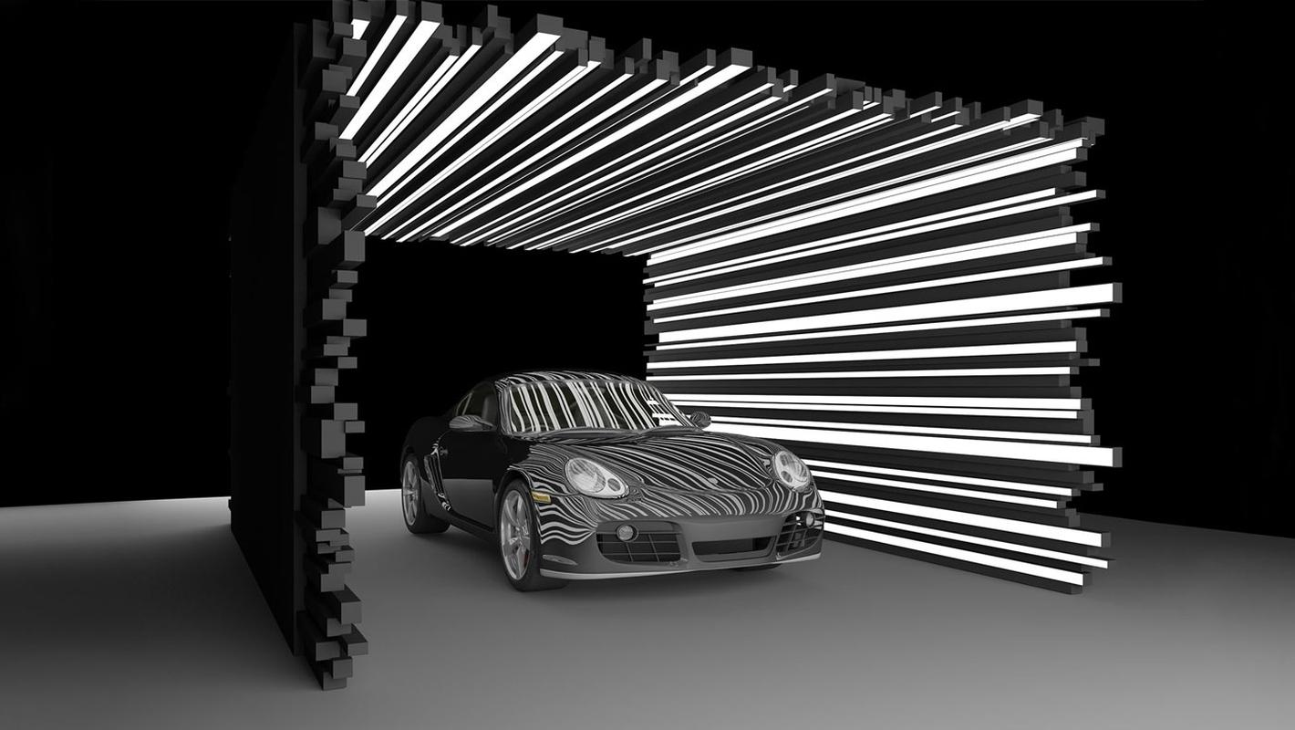 Световая инсталляция для презентации нового автомобиля Porsche 911 GTS